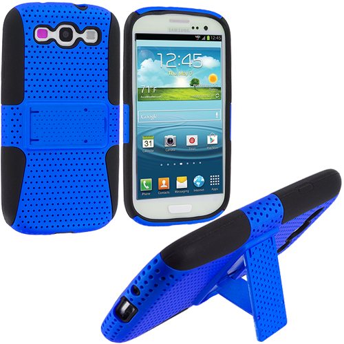 Samsung Galaxy S3 2 in 1 Combo Bundle Pack - Gray Blue Hybrid Mesh Hard/Soft Case Cover with Stand : Color Black / Blue