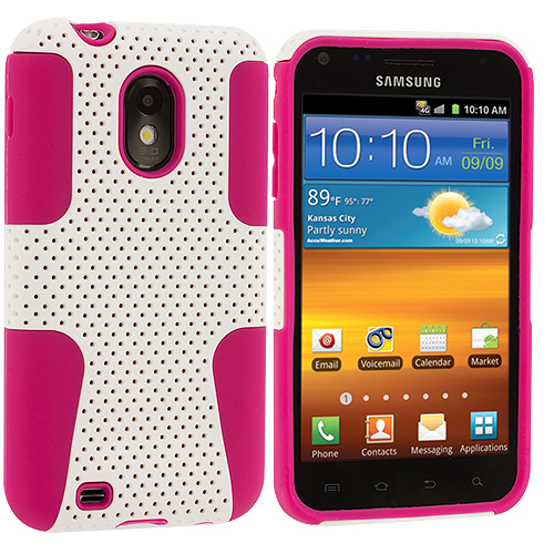 Samsung Epic Touch 4G D710 Sprint Galaxy S2 Hot Pink / White Hybrid Mesh Hard/Soft Case Cover