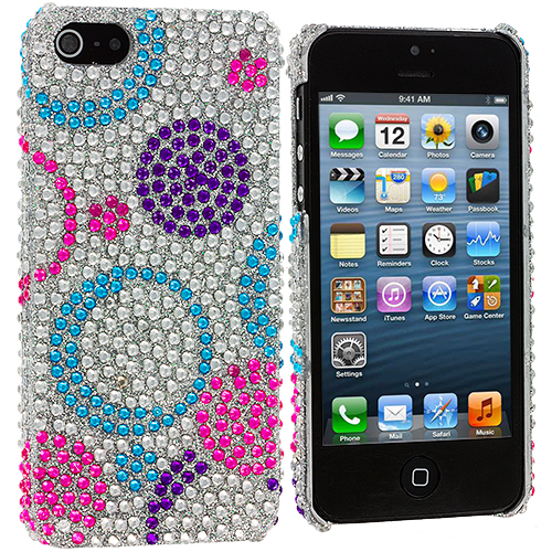 Apple iPhone 5/5S/SE Circles Purple / Silver Bling Rhinestone Case Cover