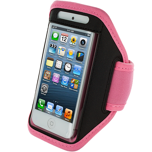 Apple iPhone 5/5S/SE Combo Pack : Black Running Sports Gym Armband : Color Pink