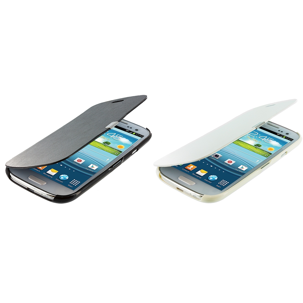Samsung Galaxy S3 2 in 1 Combo Bundle Pack - Black White Texture Magnetic Wallet Case Cover Pouch