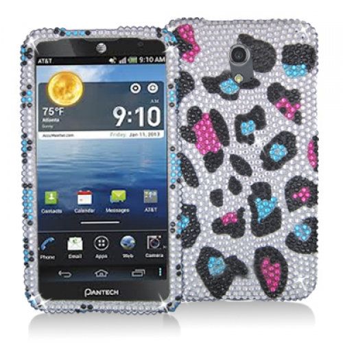 Pantech Discover Colorful Leopard Bling Rhinestone Case Cover