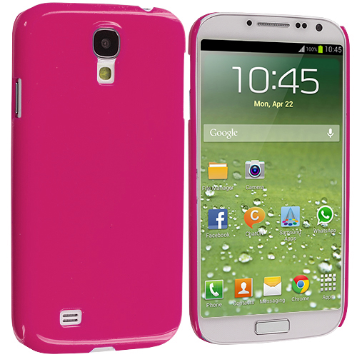 Samsung Galaxy S4 Hot Pink Solid Crystal Hard Back Cover Case