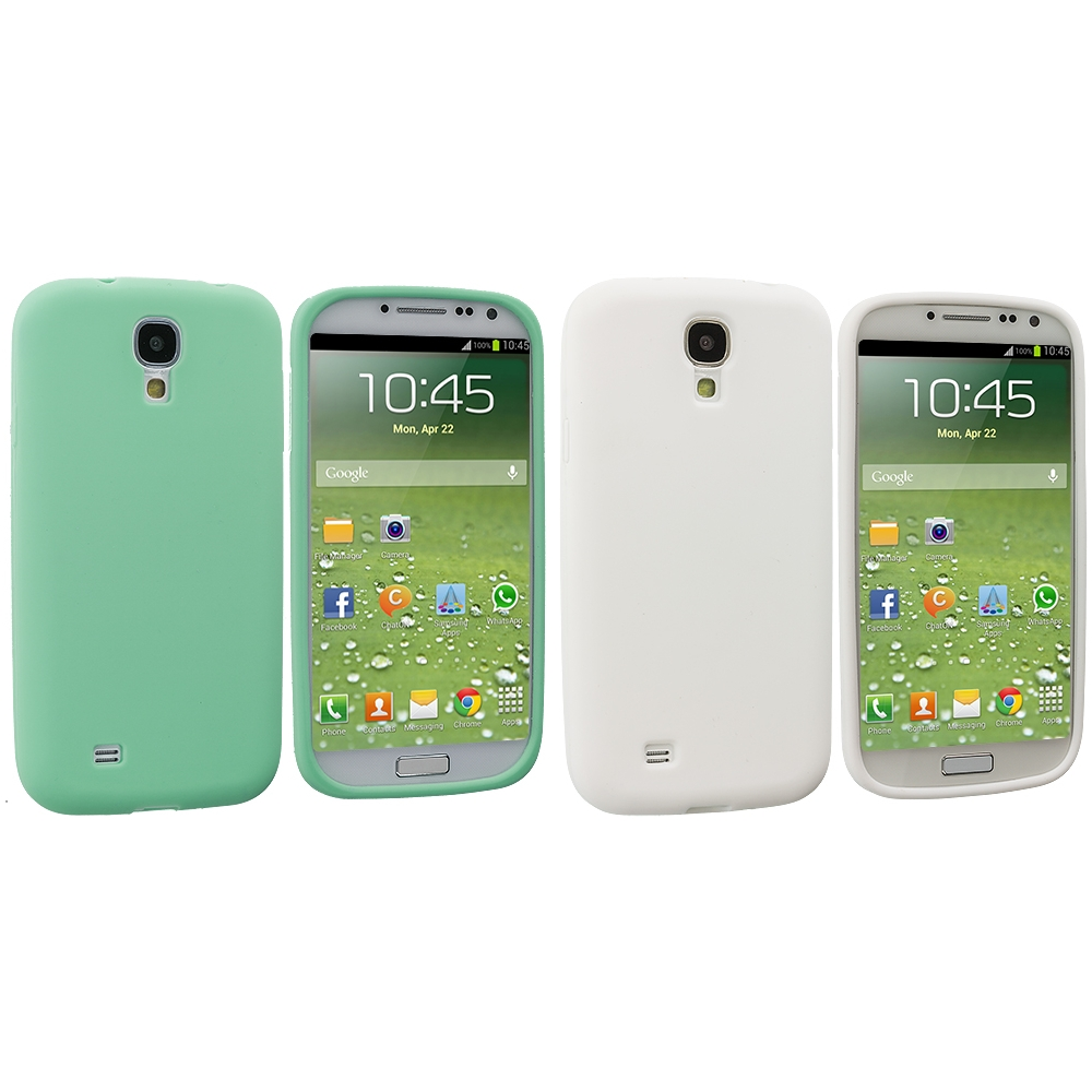 Samsung Galaxy S4 2 in 1 Combo Bundle Pack - White Mint Green Silicone Soft Skin Case Cover