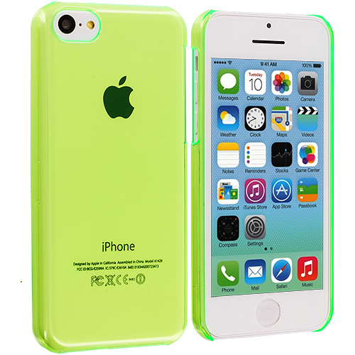 Apple iPhone 5C 2 in 1 Combo Bundle Pack - Neon Green Yellow Transparent Crystal Hard Back Cover Case : Color Neon Green Transparent