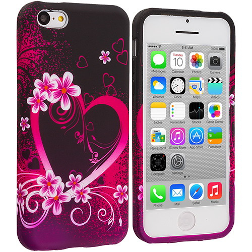Apple iPhone 5C 2 in 1 Combo Bundle Pack - Rainbow Stars Purple TPU Design Soft Case Cover : Color Purple Love