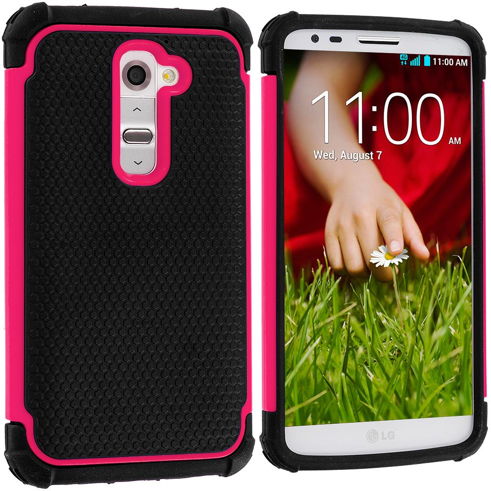 LG G2 Sprint, T-Mobile, At&t Black / Hot Pink Hybrid Rugged Hard/Soft Case Cover