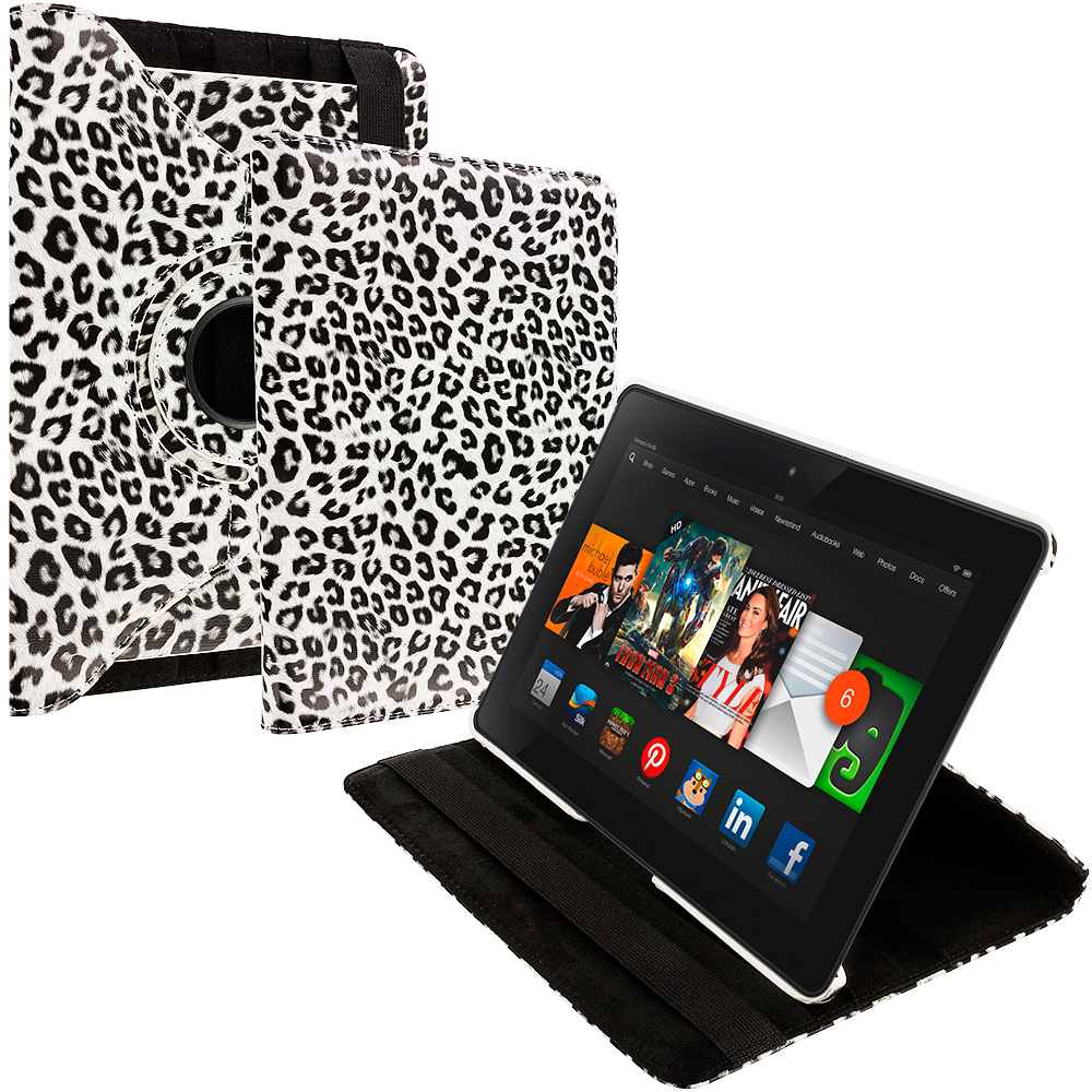 Amazon Kindle Fire HDX 8.9 Black White Leopard 360 Rotating Leather Pouch Case Cover Stand