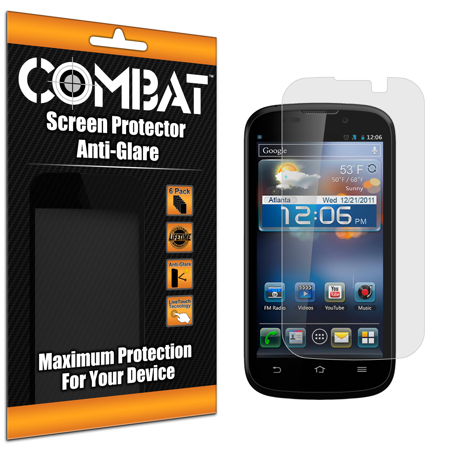 ZTE Awe N800 Combat 6 Pack Anti-Glare Matte Screen Protector