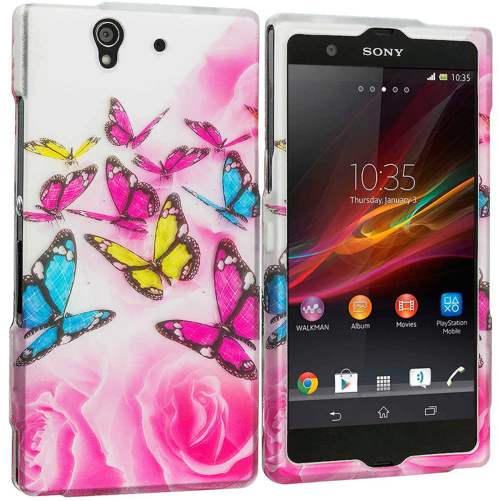 Sony Xperia Z Pink Colorful Butterfly 2D Hard Rubberized Design Case Cover