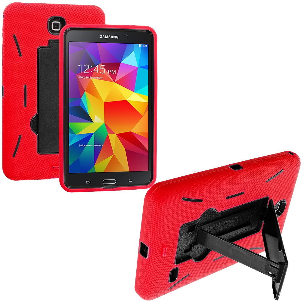 Samsung Galaxy Tab 4 7.0 Red / Black Hybrid Heavy Duty Hard/Soft Case Cover with Stand