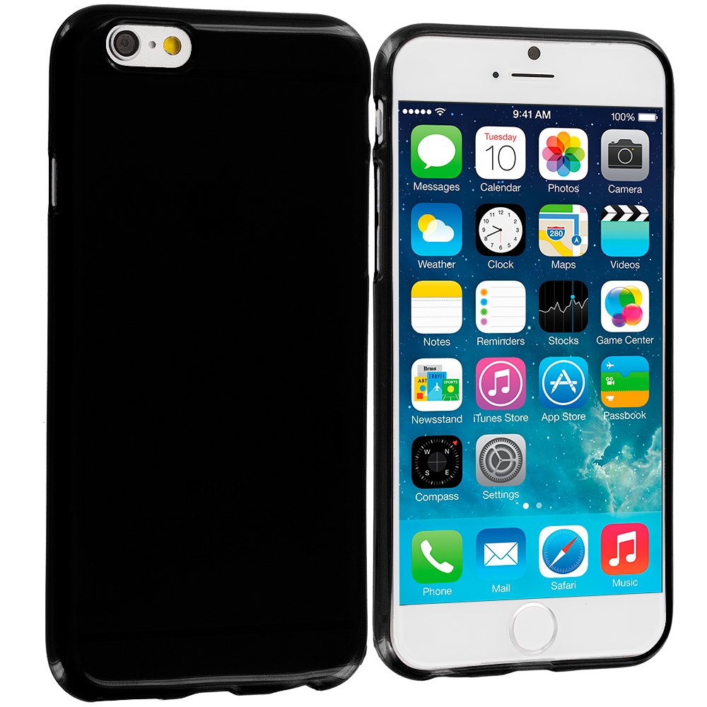 Apple iPhone 6 6S (4.7) Black Gloss TPU Rubber Skin Case Cover