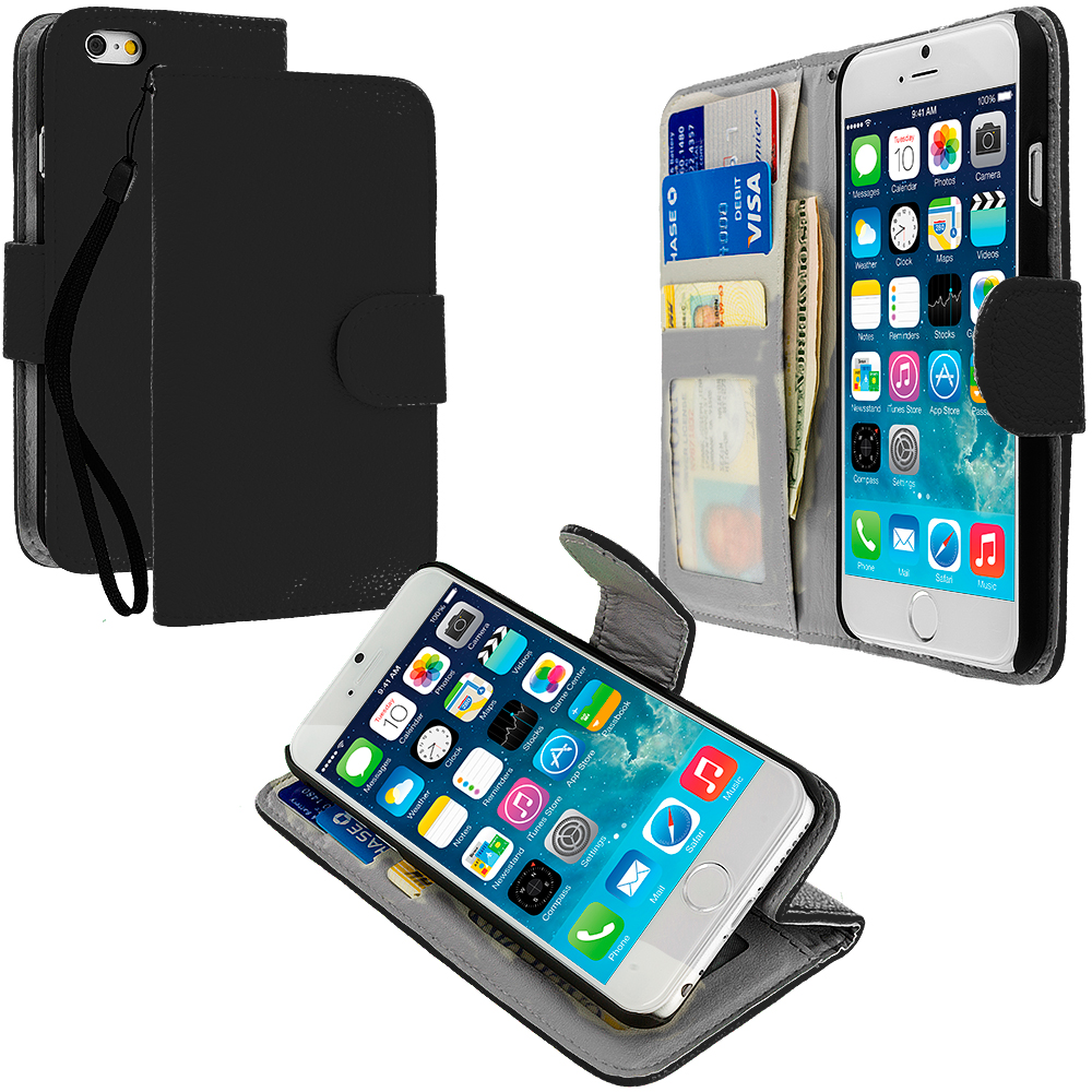 Apple iPhone 6 6S (4.7) 4 in 1 Combo Bundle Pack - Leather Wallet Pouch Case Cover with Slots : Color Black