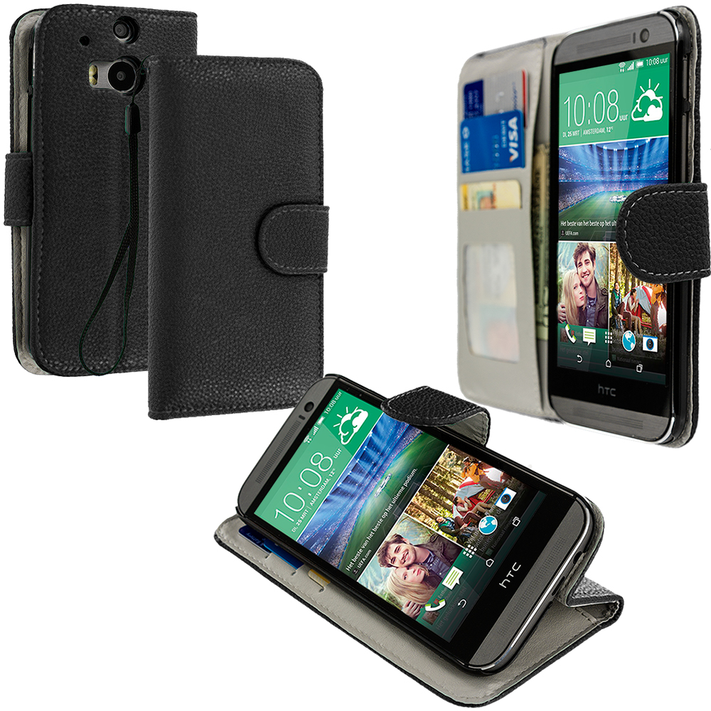 HTC One M8 Black Leather Wallet Pouch Case Cover with Slots