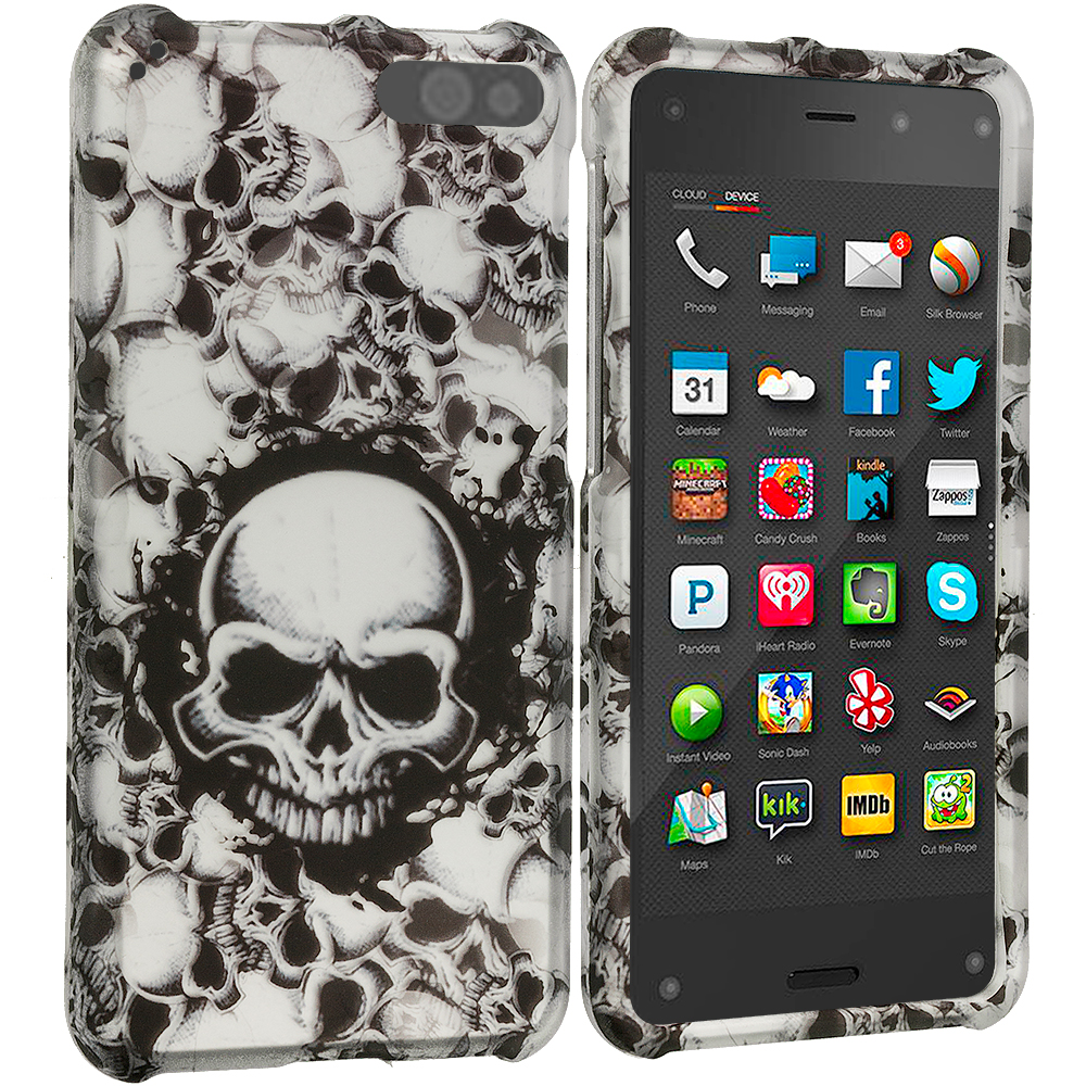 Amazon Fire Phone Black White Skulls 2D Hard Rubberized Design Case Cover