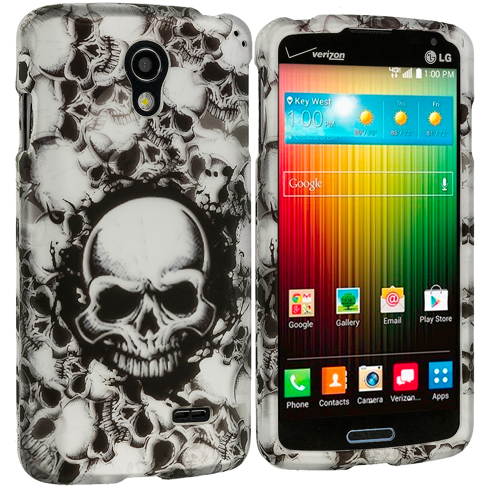 LG Lucid 3 VS876 Black White Skulls 2D Hard Rubberized Design Case Cover