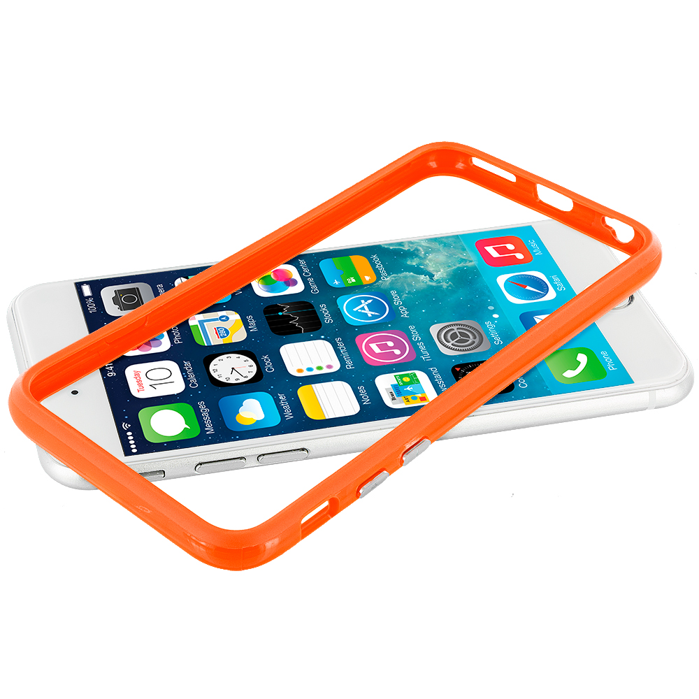 Apple iPhone 6 Plus 6S Plus (5.5) Orange TPU Bumper Frame with Metal Buttons