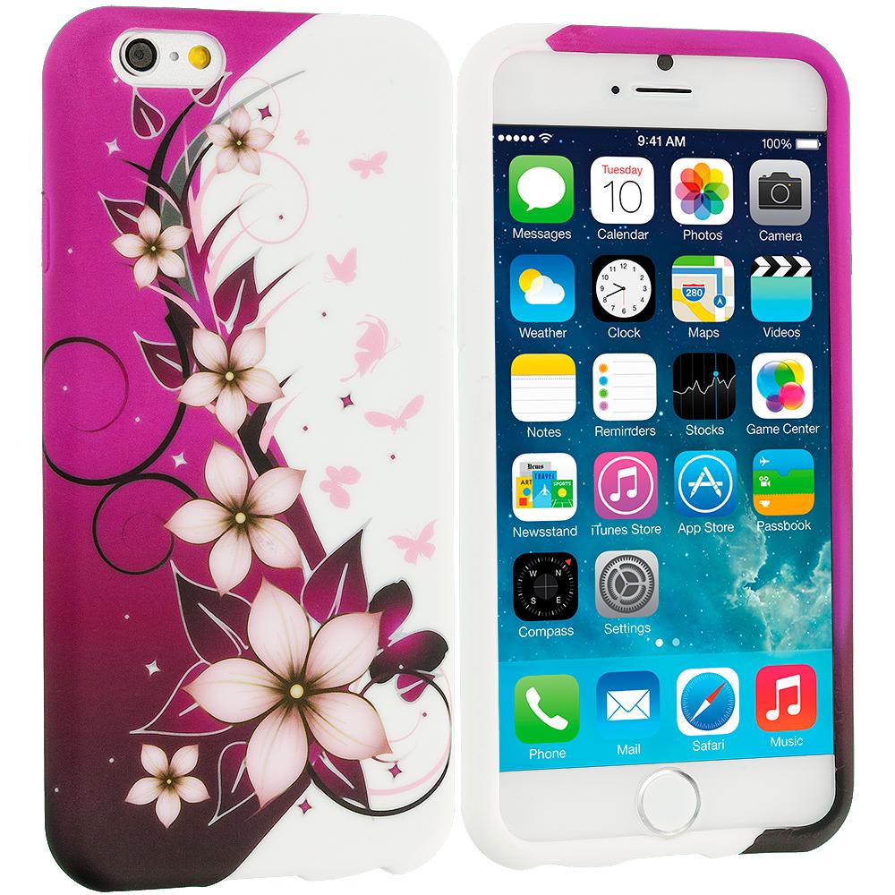 Apple iPhone 6 Plus 6S Plus (5.5) Purple Silver Vine Flower TPU Design Soft Rubber Case Cover