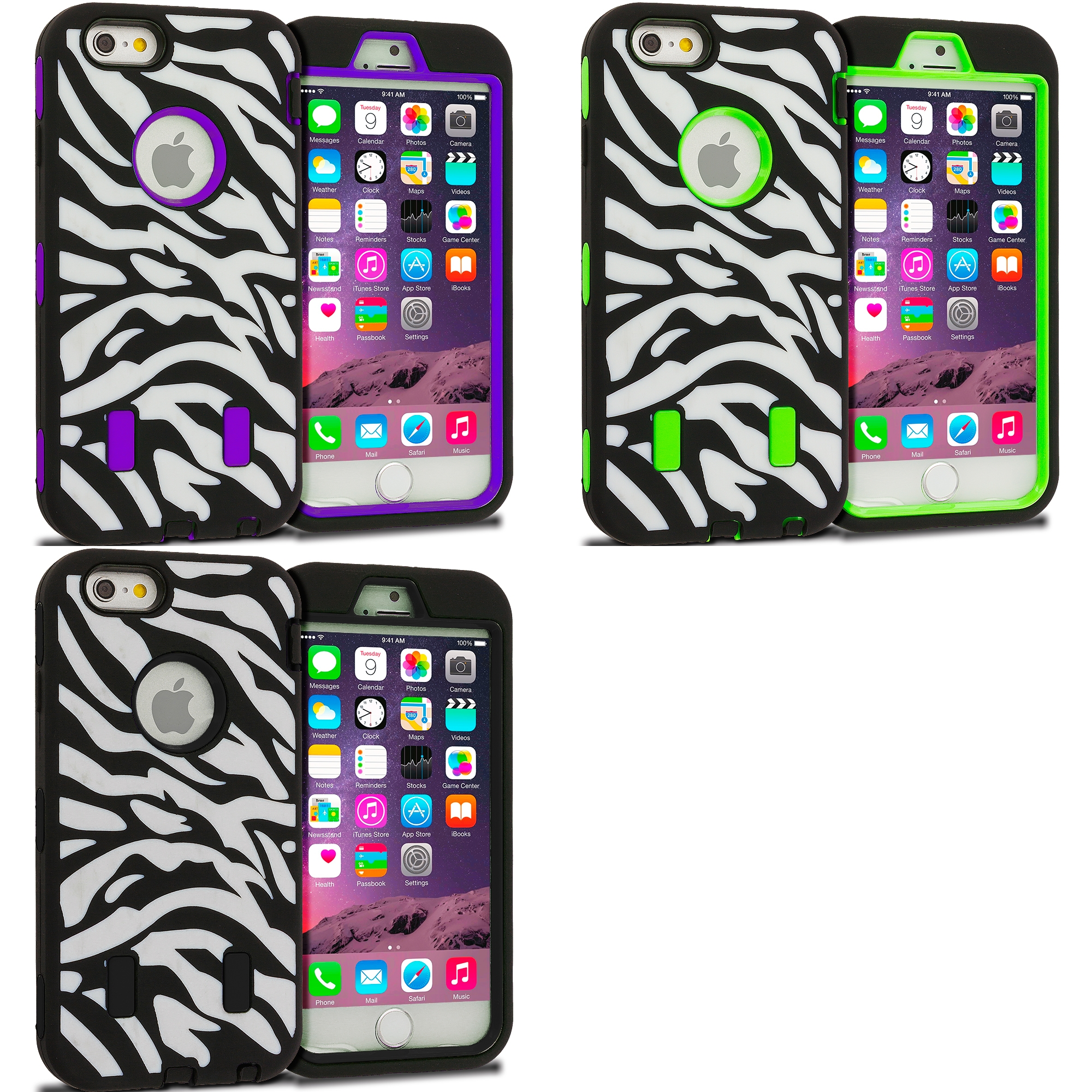 Apple iPhone 6 Plus 6S Plus (5.5) 3 in 1 Combo Bundle Pack - Zebra Hybrid Deluxe Hard/Soft Case Cover