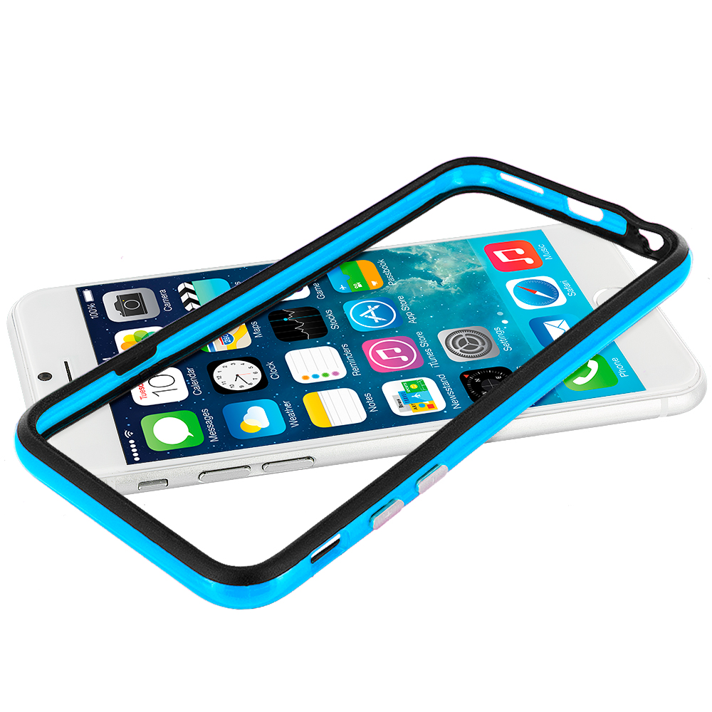 Apple iPhone 6 Plus 6S Plus (5.5) Black / Baby Blue TPU Bumper Frame Case Cover