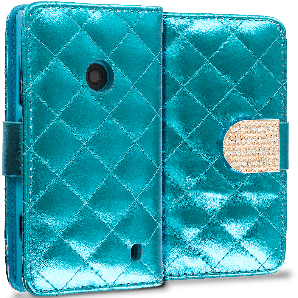 Nokia Lumia 520 Teal Luxury Wallet Diamond Design Case Cover With Slots