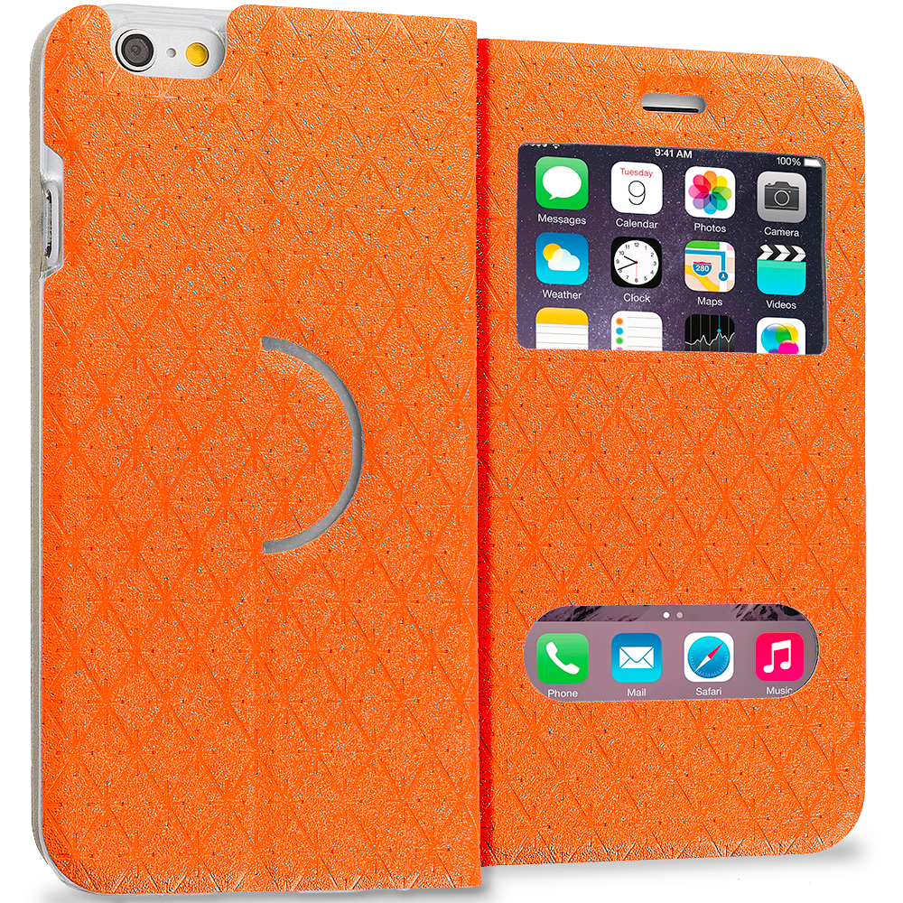 Apple iPhone 6 Plus 6S Plus (5.5) Orange Slim Hard Wallet Flip Case Cover With Double Window