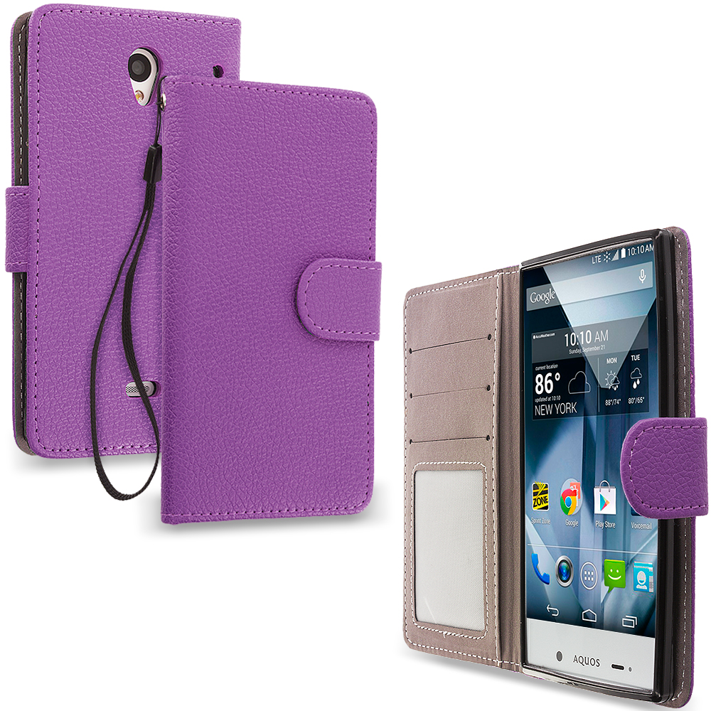 Sharp Aquos Crystal Purple Leather Wallet Pouch Case Cover with Slots
