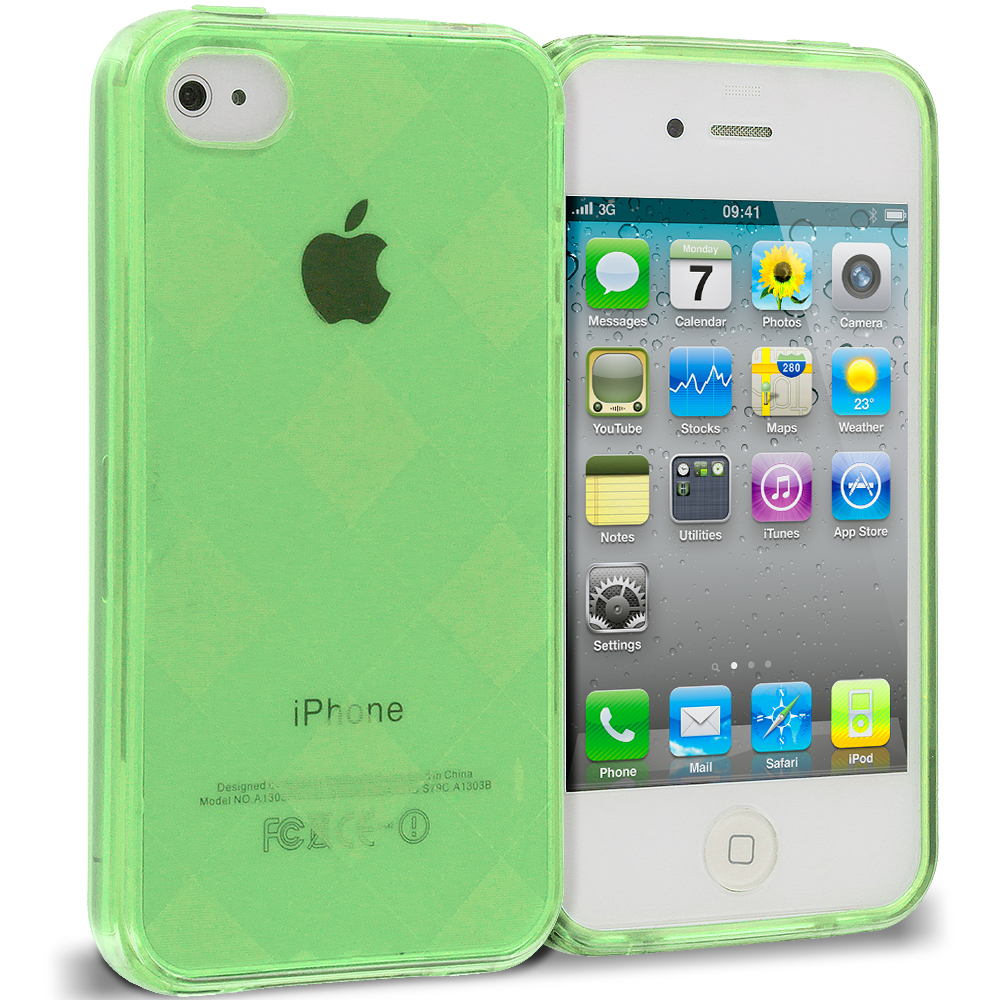 Apple iPhone 4 / 4S 2 in 1 Combo Bundle Pack - Neon Green Clear Diamond TPU Rubber Skin Case Cover : Color Neon Green Diamond