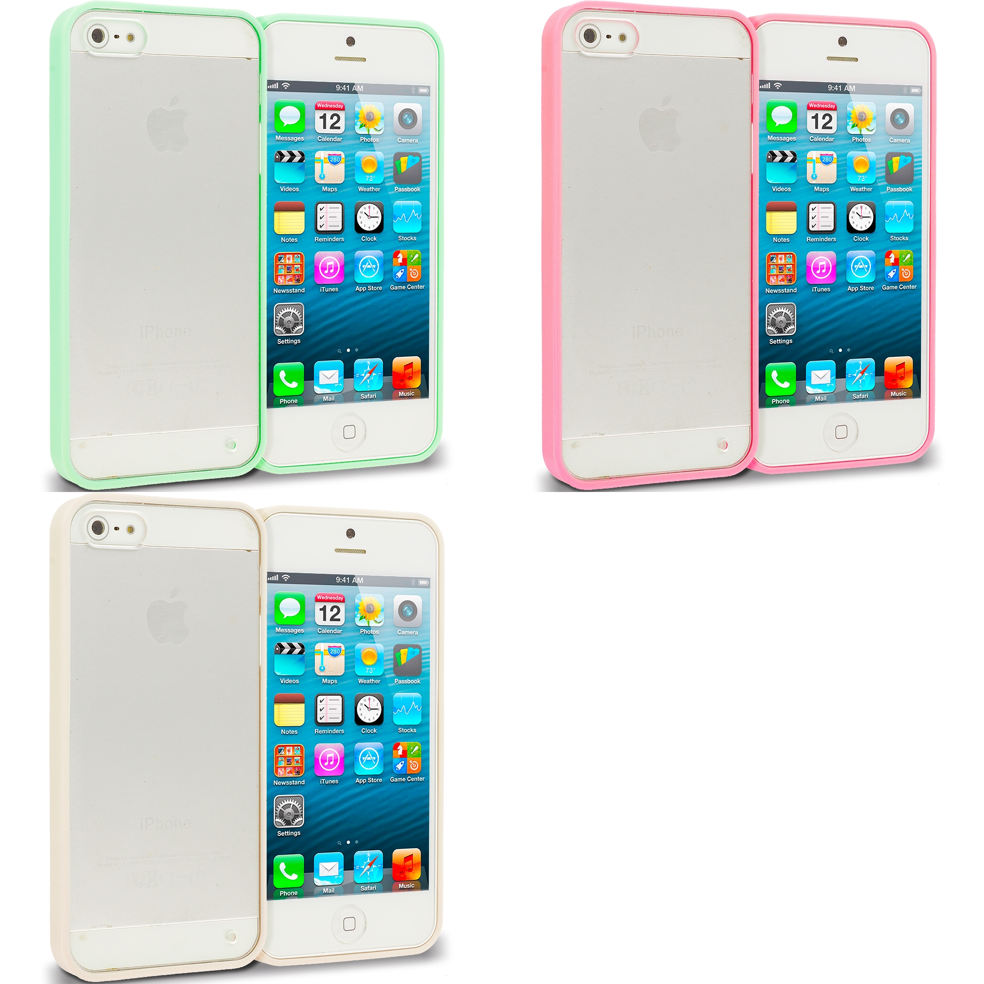 Apple iPhone 5/5S/SE Combo Pack : Green TPU Plastic Hybrid Case Cover