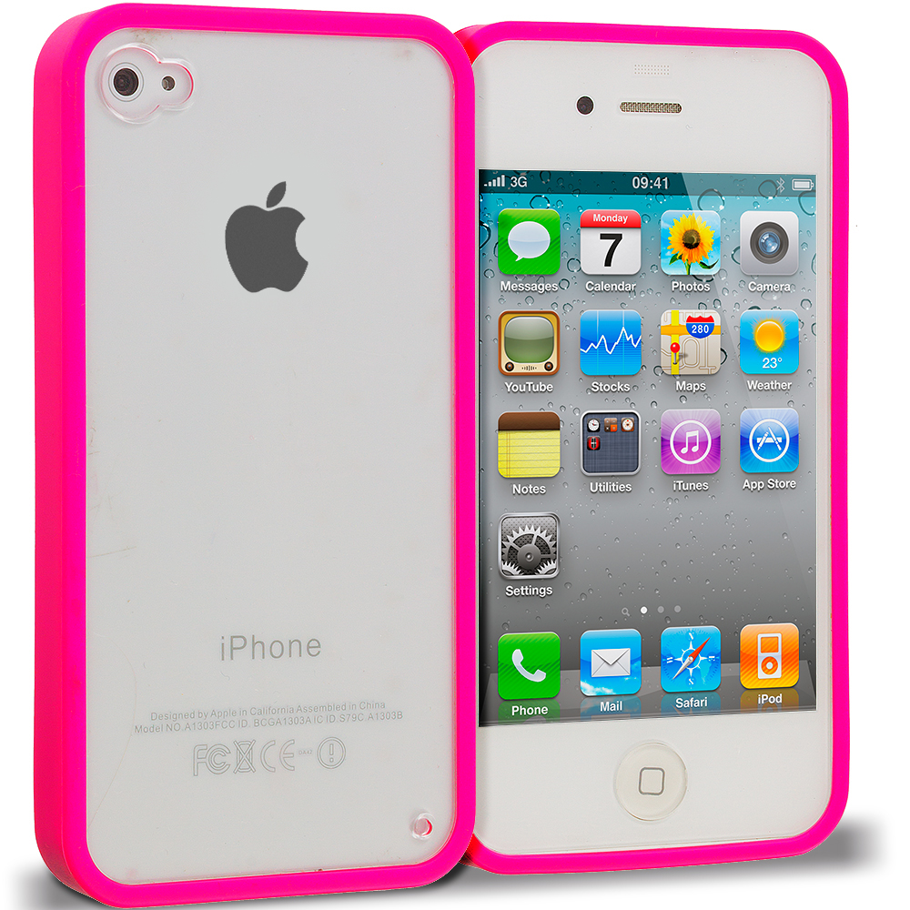 Apple iPhone 4 / 4S 2 in 1 Combo Bundle Pack - Black Pink TPU Plastic Hybrid Case Cover : Color Hot Pink