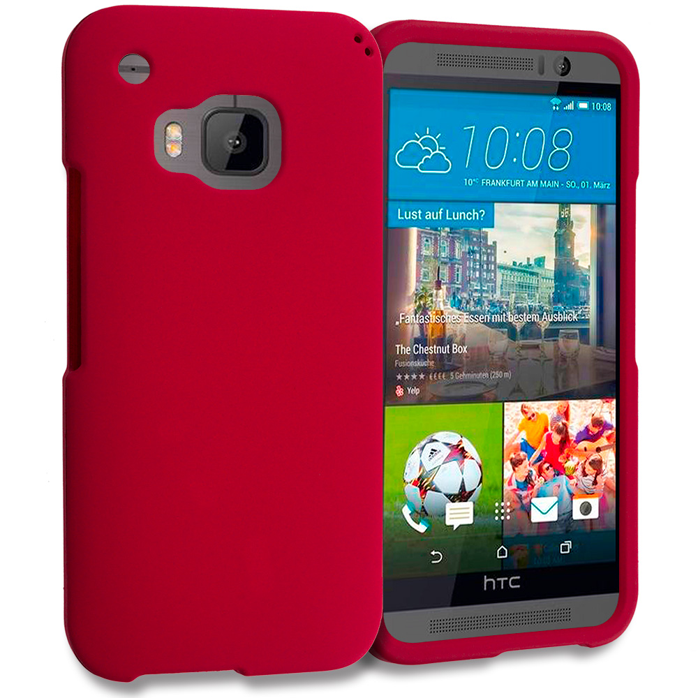 HTC One M9 Red Hard Rubberized Case Cover