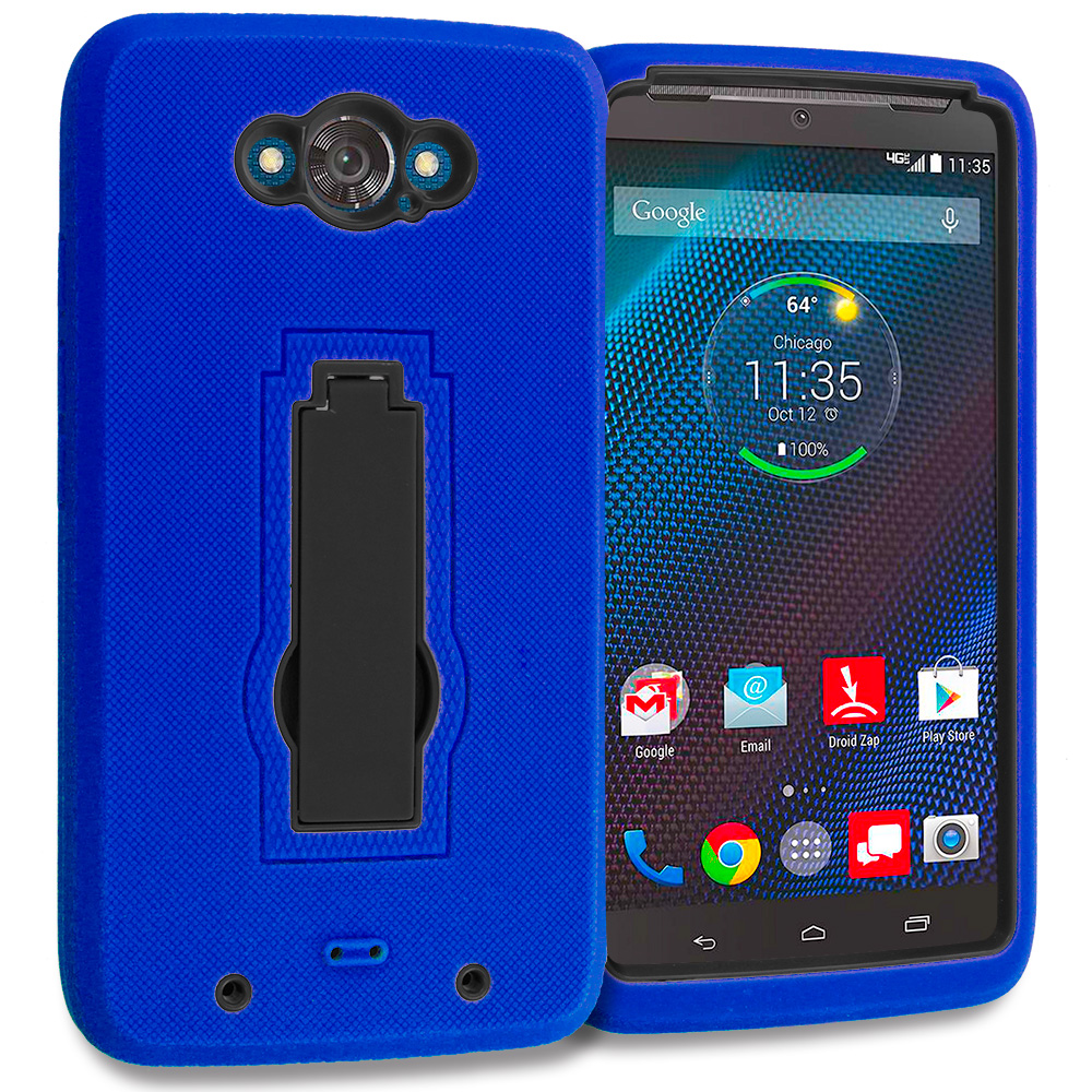 Motorola Droid Turbo Blue / Black Hybrid Heavy Duty Hard Soft Case Cover with Kickstand