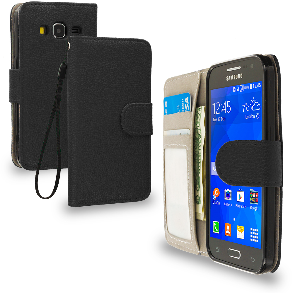 Samsung Galaxy Prevail LTE Core Prime G360P Black Leather Wallet Pouch Case Cover with Slots