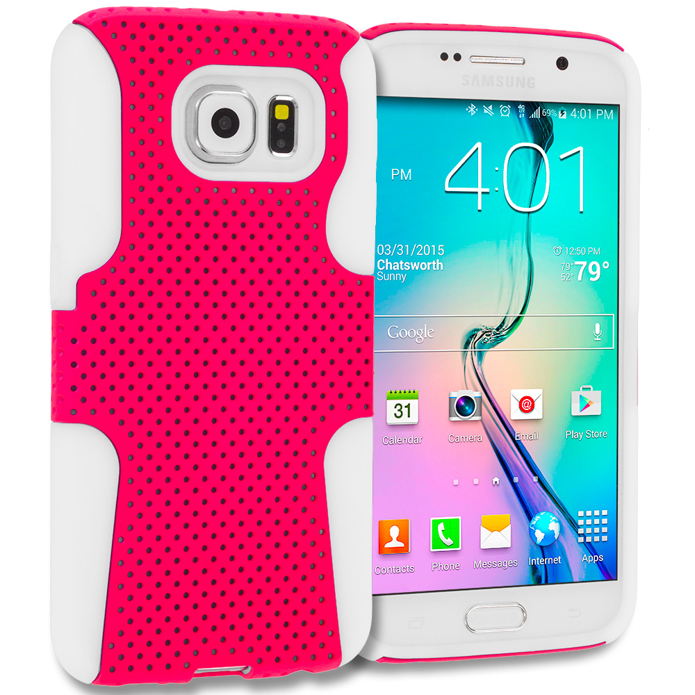 Samsung Galaxy S6 White / Hot Pink Hybrid Mesh Hard/Soft Case Cover