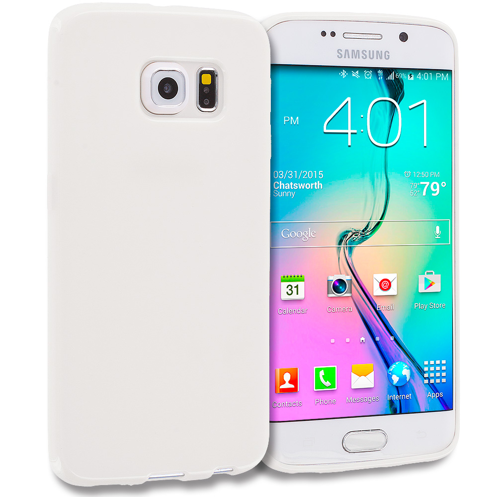 Samsung Galaxy S6 Edge White Solid TPU Rubber Skin Case Cover