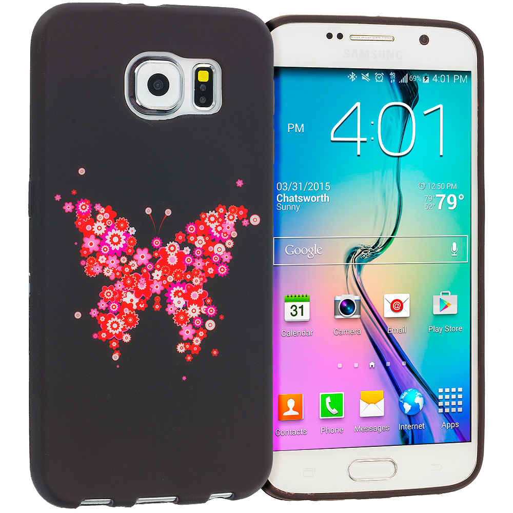 Samsung Galaxy S6 Edge Butterfly Hearts TPU Design Soft Rubber Case Cover