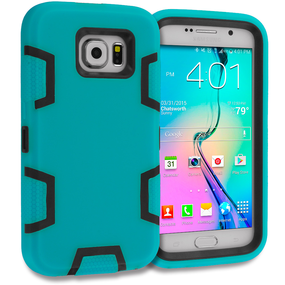 Samsung Galaxy S6 3 in 1 Combo Bundle Pack - Hybrid Defender Heavy Duty Shockproof Armor Hard Soft Case Cover : Color Baby Blue / Black