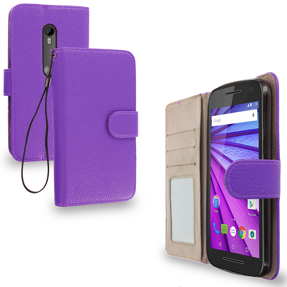 Motorola Moto G 3rd Gen 2015 Purple Leather Wallet Pouch Case Cover with Slots
