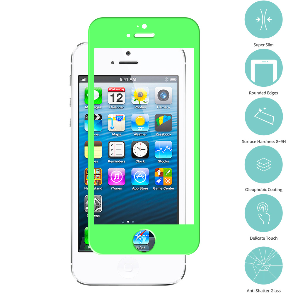 Apple iPhone 5 / 5S / 5C Neon Green Tempered Glass Film Screen Protector Colored