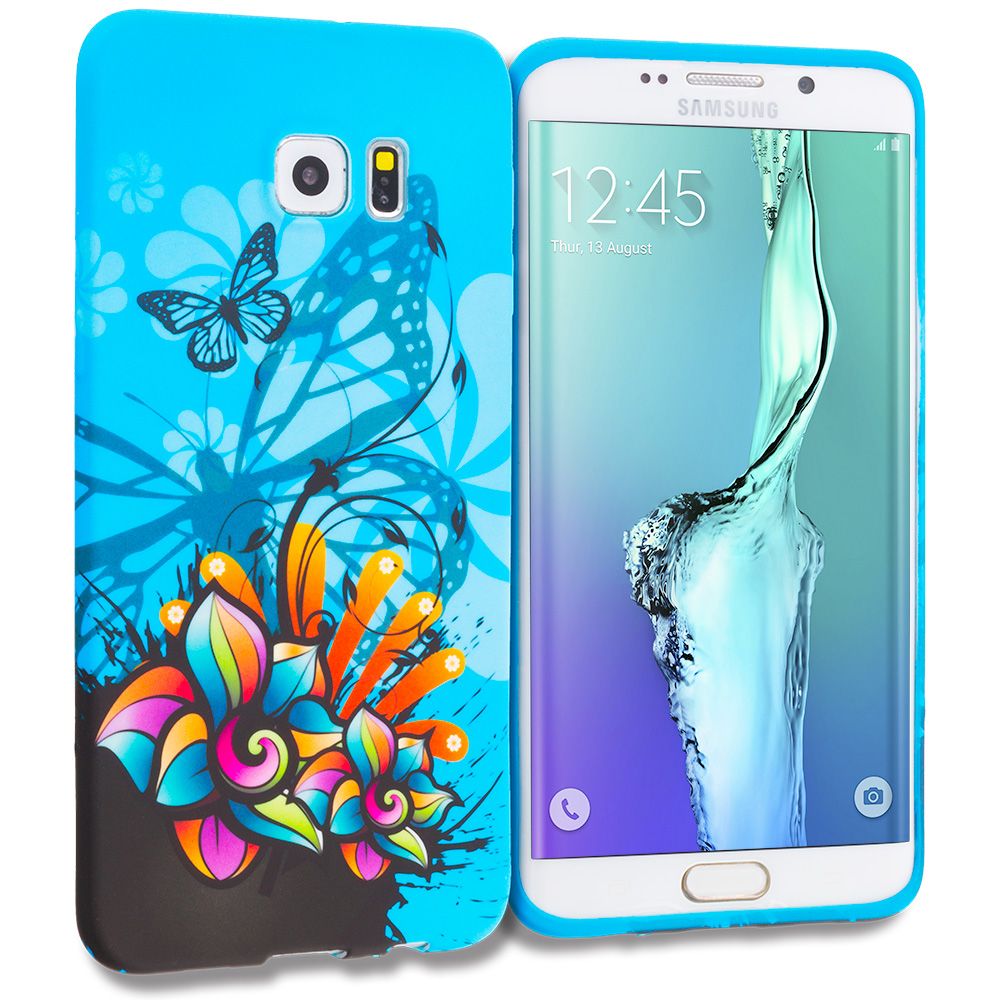 Samsung Galaxy S6 Edge Plus + Blue Butterfly Flower TPU Design Soft Rubber Case Cover