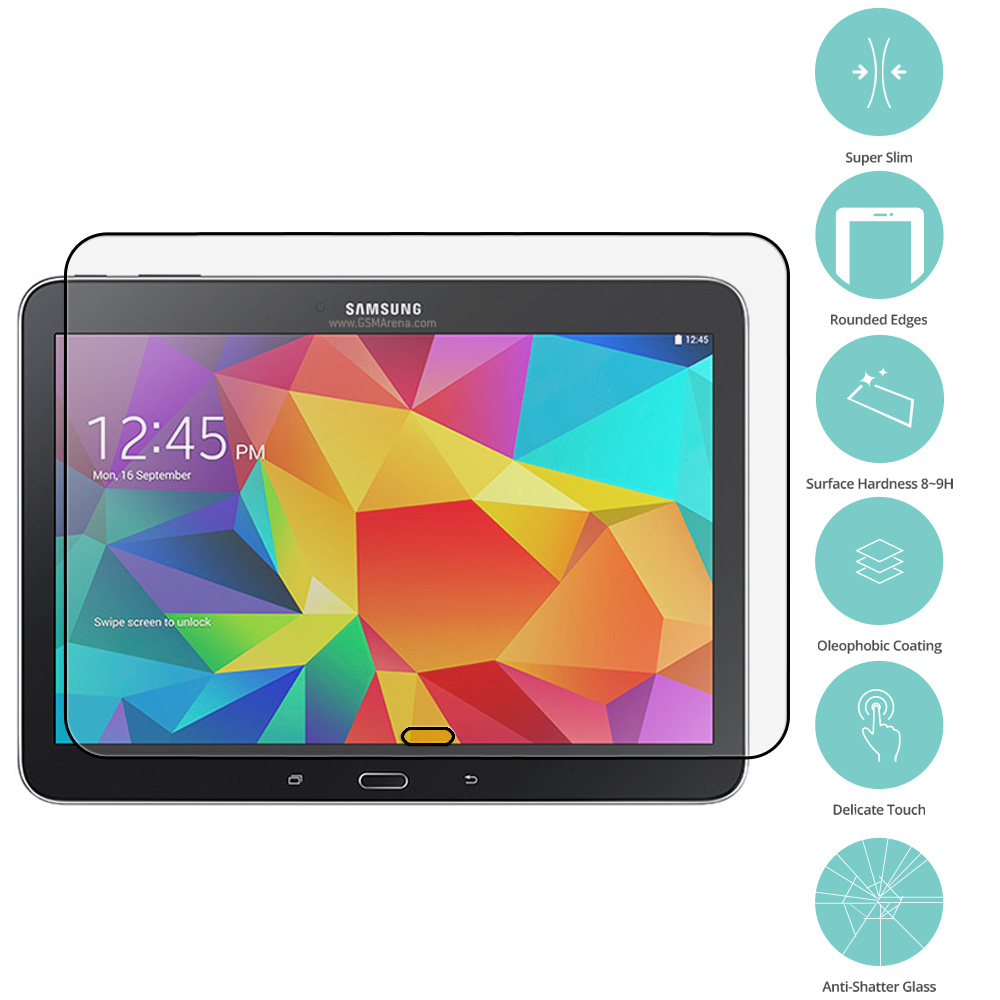 Samsung Galaxy Tab 4 10.1 Clear Tempered Glass Film Screen Protector Clear