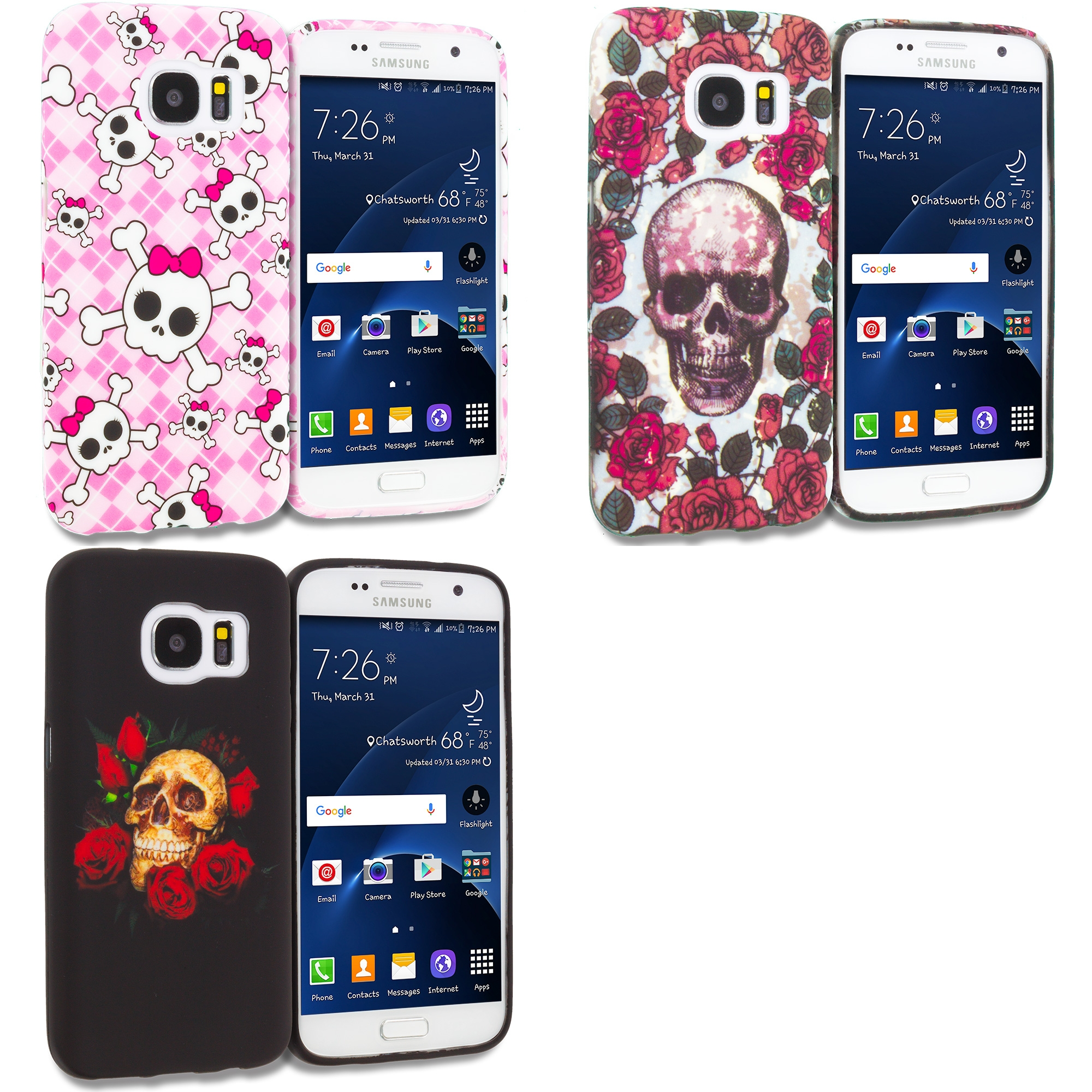 Samsung Galaxy S7 Combo Pack : Cute Skulls TPU Design Soft Rubber Case Cover