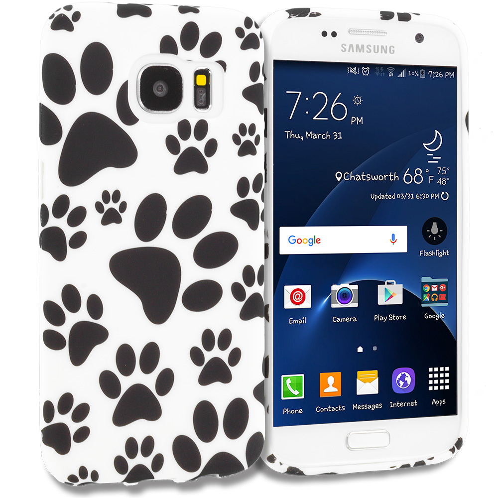 Samsung Galaxy S7 Combo Pack : Dog Paw TPU Design Soft Rubber Case Cover : Color Dog Paw