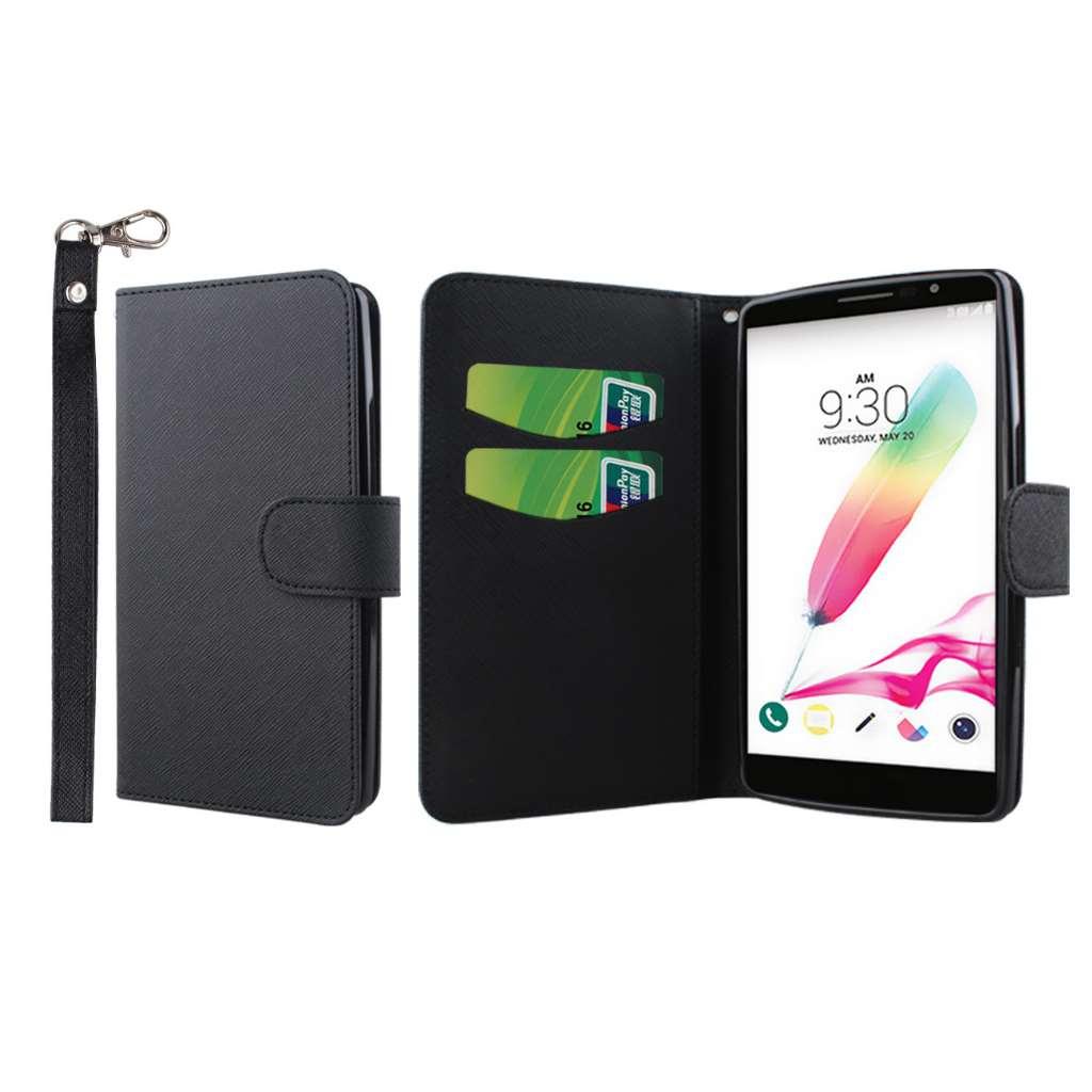 LG G Stylo - Black MPERO FLEX FLIP Wallet Case Cover