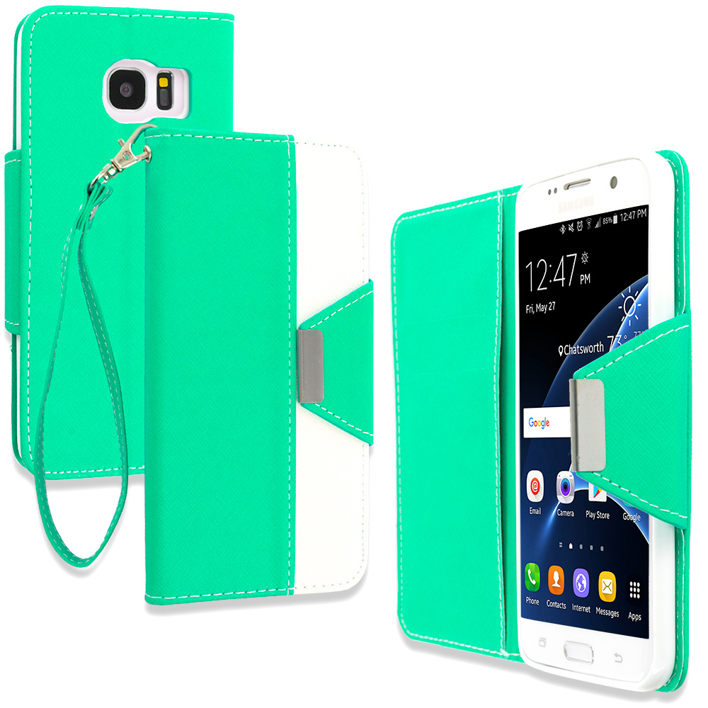 Samsung Galaxy S7 Edge Mint Green Wallet Magnetic Metal Flap Case Cover With Card Slots