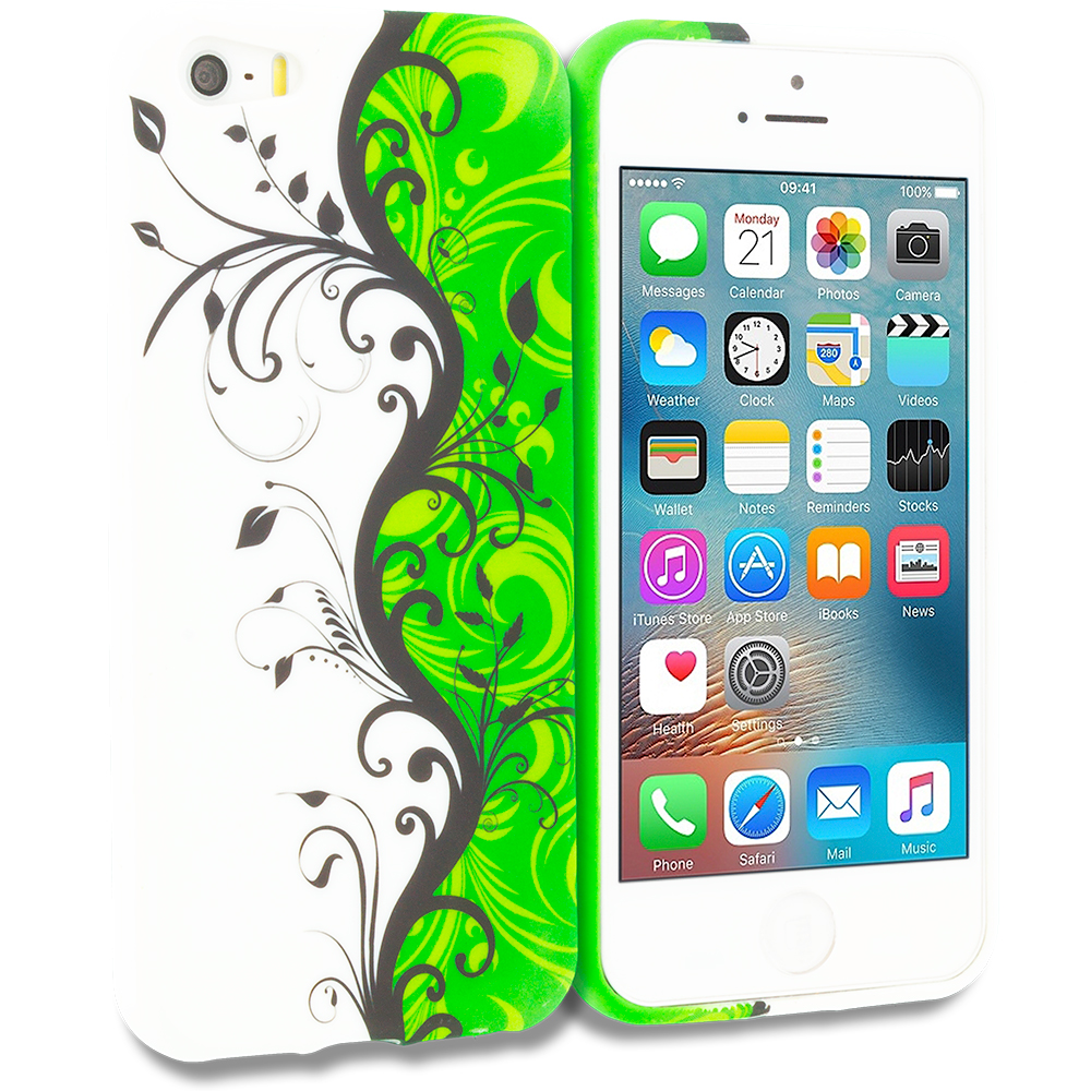 Apple iPhone 5/5S/SE Combo Pack : Green / White Swirl TPU Design Soft Rubber Case Cover : Color Green / White Swirl