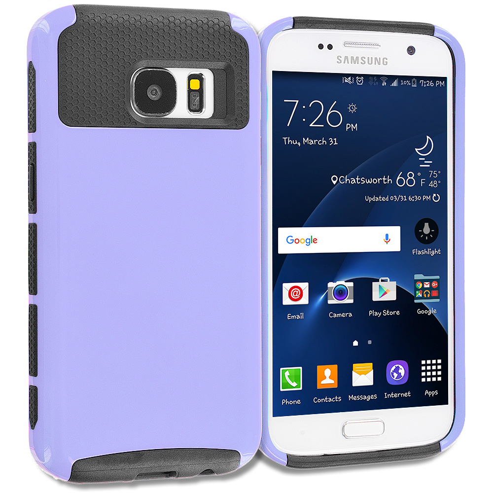 Samsung Galaxy S7 Combo Pack : Purple / Black Hybrid Hard TPU Honeycomb Rugged Case Cover : Color Purple / Black