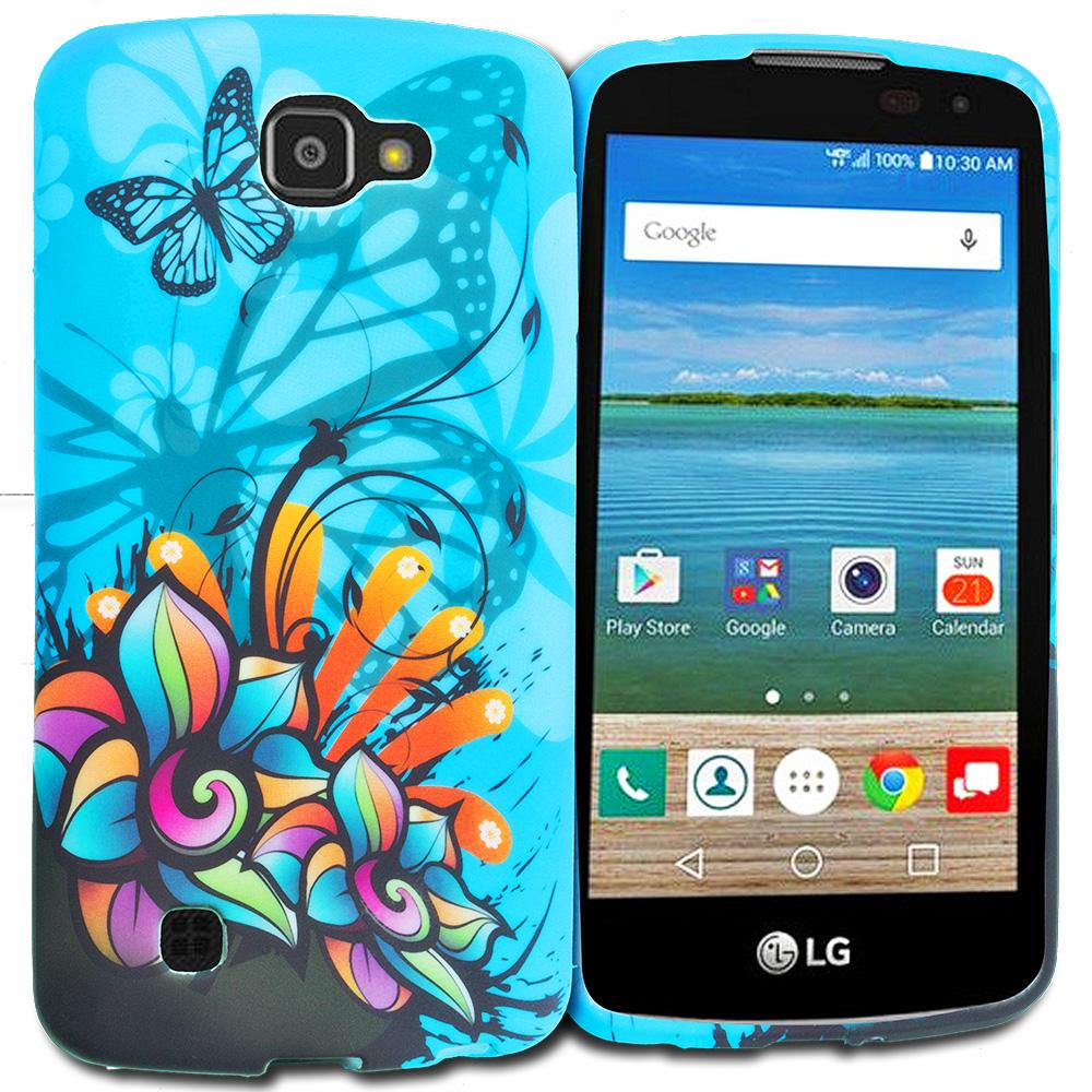 LG Spree Optimus Zone 3 VS425 K4 Blue Butterfly Flower TPU Design Soft Rubber Case Cover