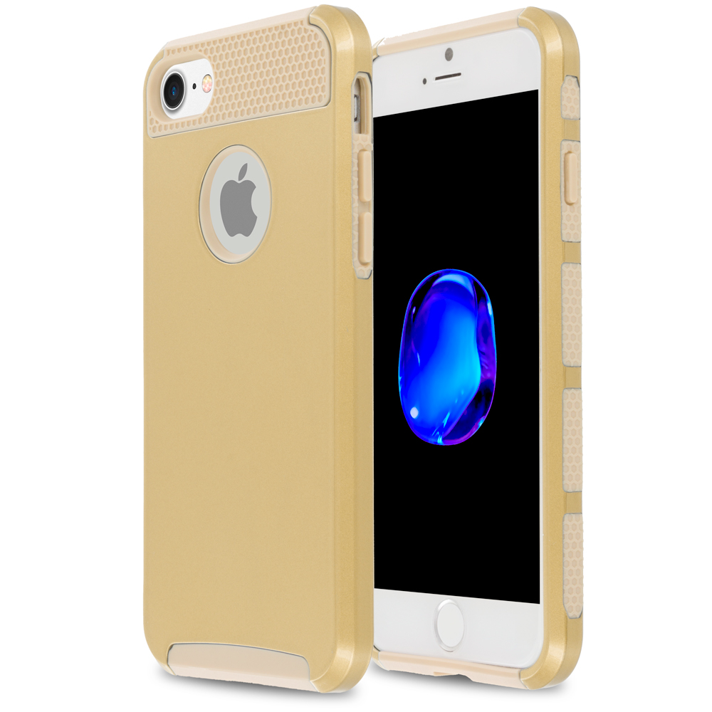 Apple iPhone 7 Gold / Gold Hybrid Hard TPU Honeycomb Rugged Case Cover