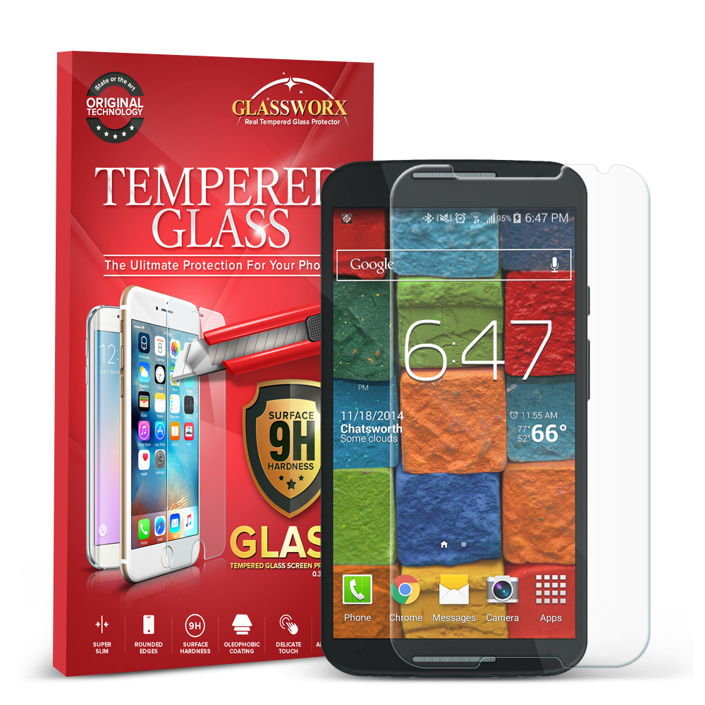 Motorola Moto X 2nd Gen GlassWorX HD Clear Tempered Glass Screen Protector